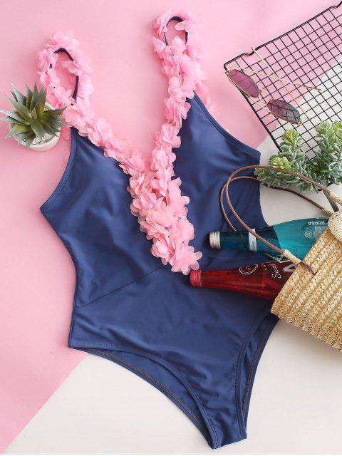 hot ZAFUL Petal Low Back One-piece Swimsuit - SLATE BLUE M Mobile