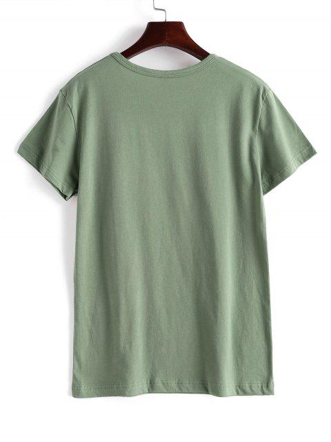 latest Floral Save The Bees Graphic Basic T Shirt - GREEN M Mobile