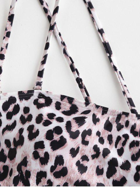shops ZAFUL One Shoulder Cutout Leopard Bikini Swimsuit - LEOPARD M Mobile