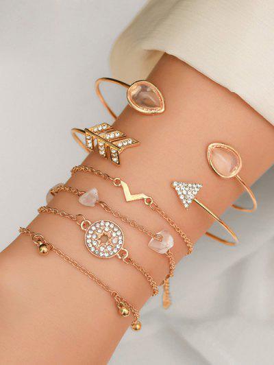 Rhinestone Faux Opal Arrow Bracelet Set - Gold