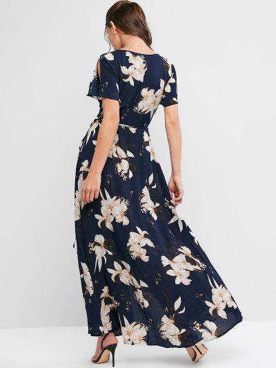 ZAFUL Spilt Sleeve Floral Print Maxi Wrap Dress, Deep blue