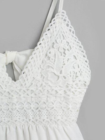 Knotted Back Crochet Panel Flared Cami Dress, White