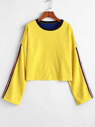 Striped Drop Shoulder Raw Hem Sweatshirt - Yellow M