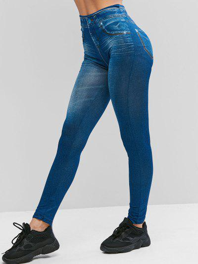 High Waist 3D Printed Jeggings - Blue M