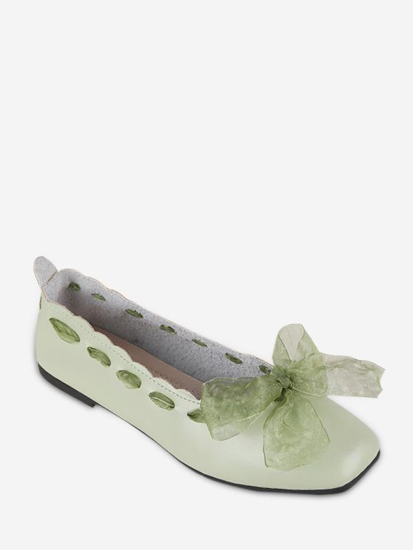 Sweet Bow Square Toe Flat Shoes фото