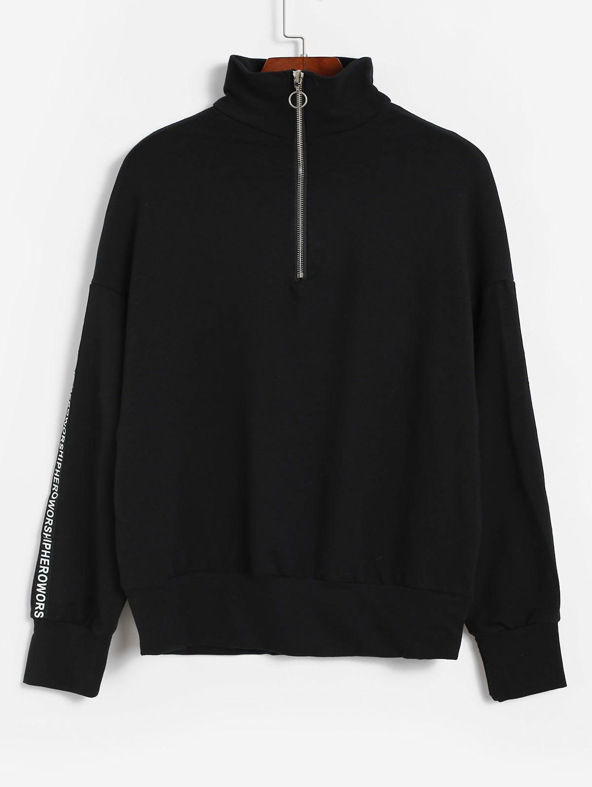 Drop Shoulder Half Zip Slogan Graphic Sweatshirt