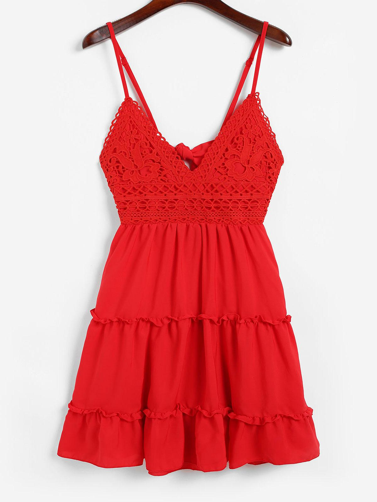 Knotted Back Crochet Panel Flared Cami Dress