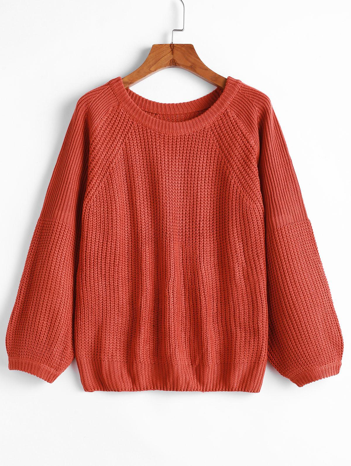 Pullover Raglan Sleeve Crew Neck Sweater