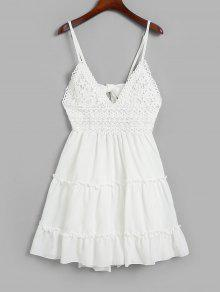 معقود الظهر الكروشيه لوحة اندلعت كامي اللباس - أبيض S