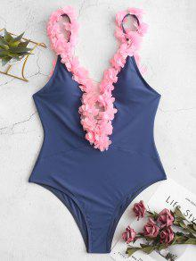 ZAFUL البتلة أسفل الظهر من قطعة واحدة ملابس السباحة - لائحة الأزرق Xl