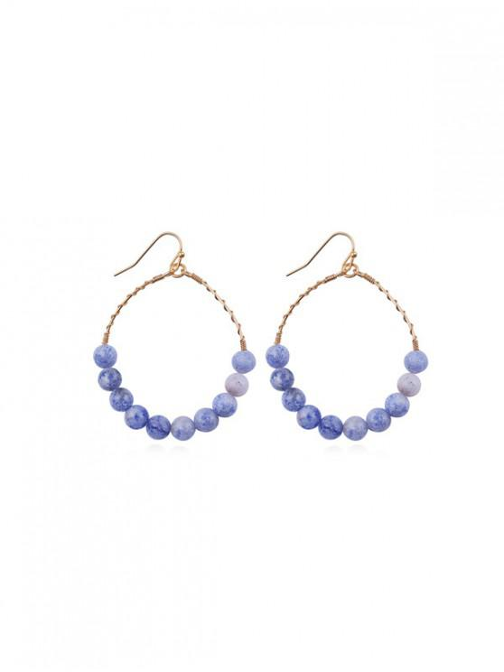 unique Hoop Beads Round Dangle Earrings - NAVY BLUE