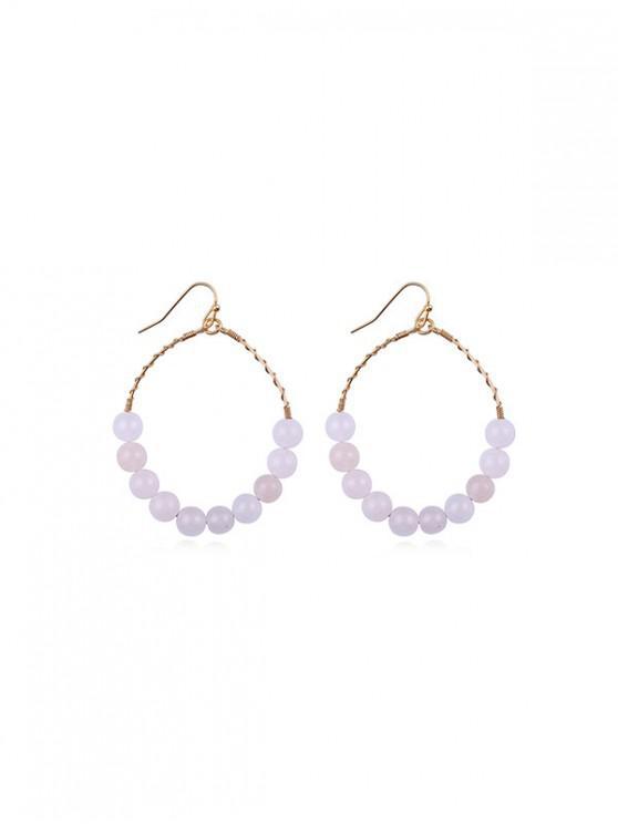 fancy Hoop Beads Round Dangle Earrings - LIGHT PINK