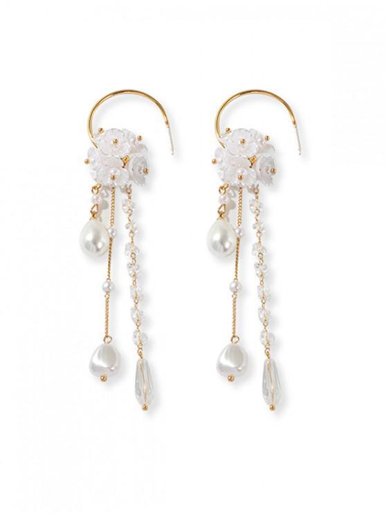 best Floral Faux Pearl Tassel Drop Earrings - WHITE