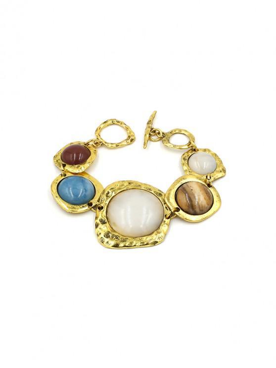 ladies Vintage Round Faux Gemstone Bracelet - GOLD