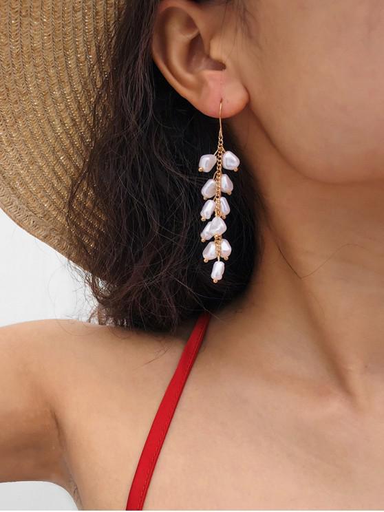 outfit Faux Pearl Long Drop Hook Earrings - GOLD