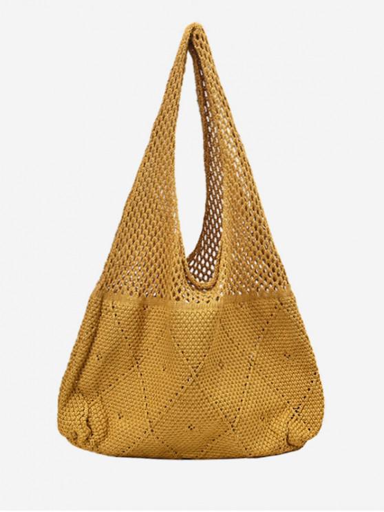 กระเป๋าสะพายไหล่ Retro ถัก - สีเหลือง