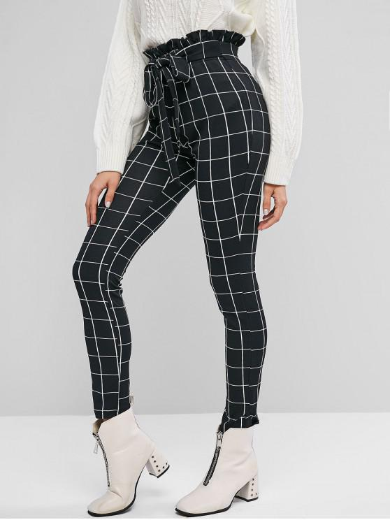lady ZAFUL Knotted Checked Skinny Paperbag Pants - BLACK M