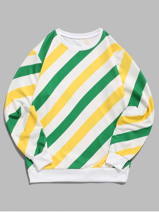 fancy Color Blocking Striped Splicing Print Pullover Sweatshirt - MULTI M