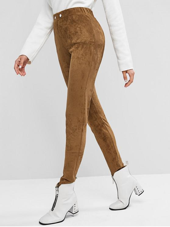 hot ZAFUL Buttons Faux Suede Solid Leggings - DEEP COFFEE S