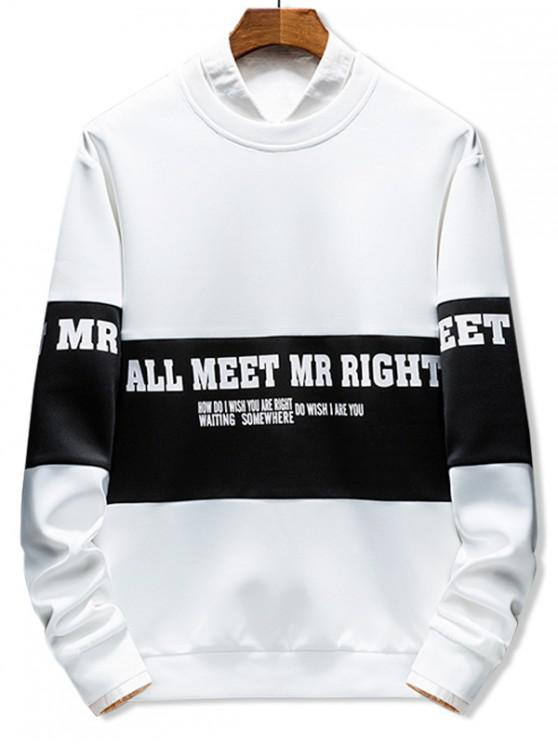 fancy Color Block Splicing Letter Graphic Print Sweatshirt - WHITE M