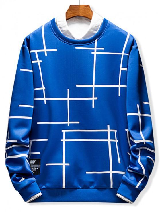 chic Abstract Line Geometric Print Crew Neck Sweatshirt - BLUEBERRY BLUE M
