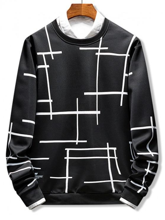 women Abstract Line Geometric Print Crew Neck Sweatshirt - BLACK XS