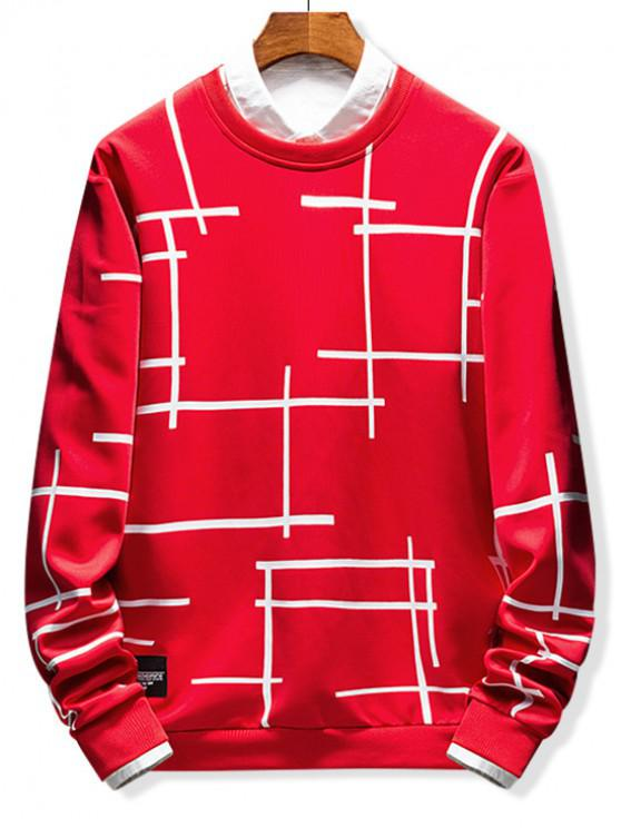 chic Abstract Line Geometric Print Crew Neck Sweatshirt - RUBY RED XS