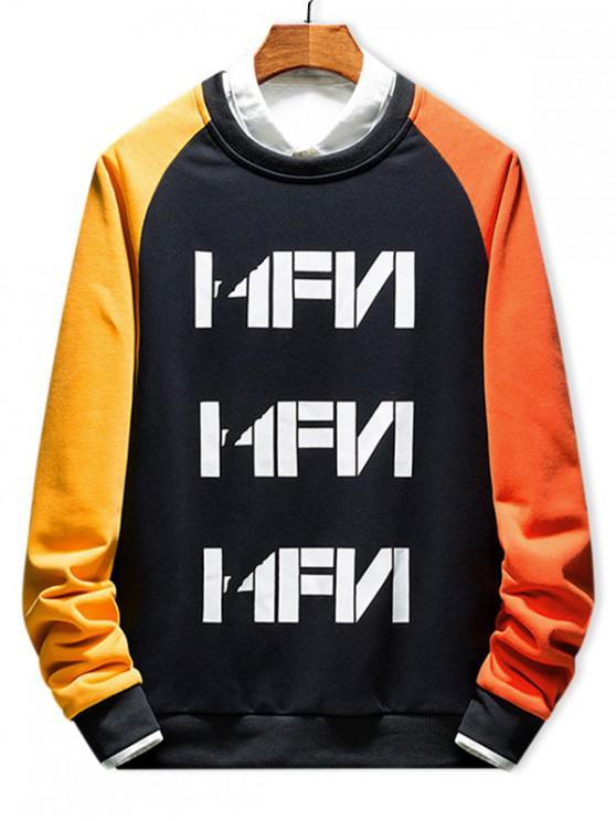 online Color Block Splicing Letter Print Raglan Sleeve Sweatshirt - MULTI-A M