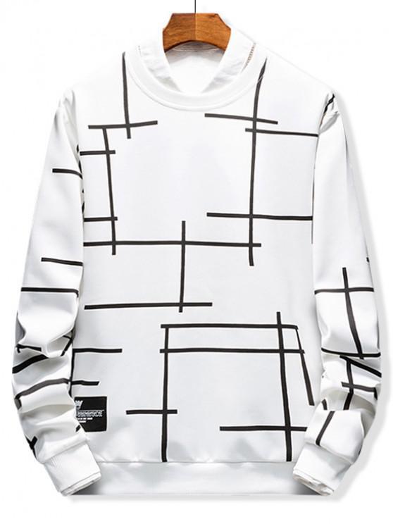 ladies Abstract Line Geometric Print Crew Neck Sweatshirt - WHITE S
