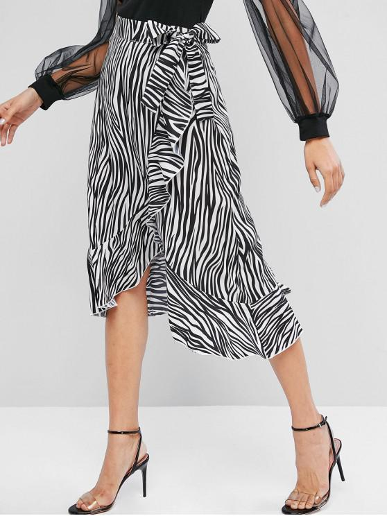 shop ZAFUL Ruffles Zebra Print Wrap Asymmetrical Skirt - MULTI L