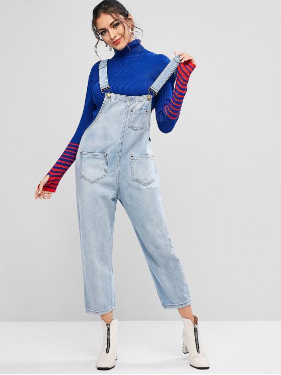 trendy Pockets Solid Denim Overalls - DENIM BLUE L