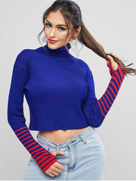outfit Stripes Panel Turtleneck Slim Sweater - BLUEBERRY BLUE ONE SIZE