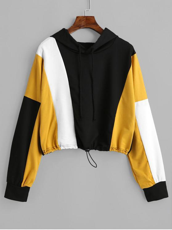 online Drop Shoulder Drawstring Color Block Short Hoodie - MULTI-A XL