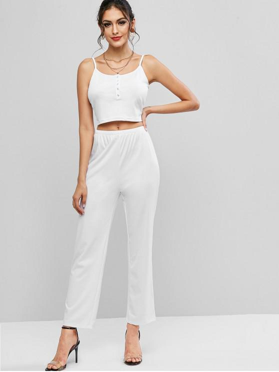 women's Cropped Off Shoulder Ribbed Two Piece Set - WHITE L