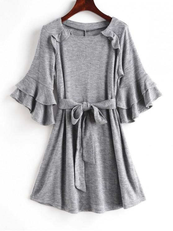 hot Flare Sleeves Ruffles Belted Solid Dress - GRAY M