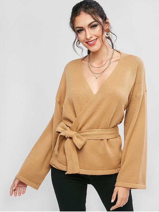 sale Drop Shoulder Belted Skirted Cardigan - CAMEL BROWN ONE SIZE