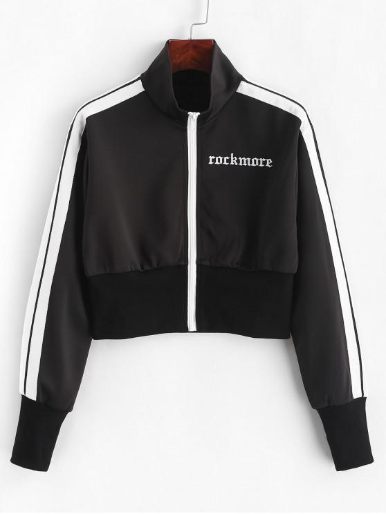 new Letter Embroidered Drop Shoulder Side Tape Jacket - BLACK L
