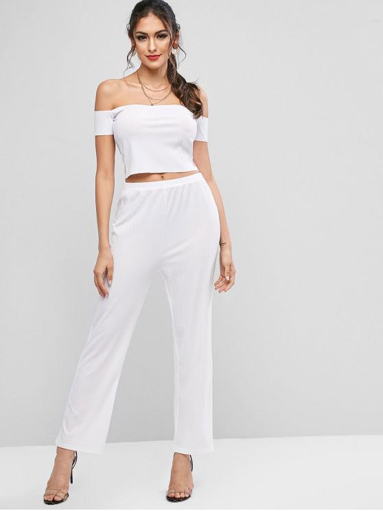 ladies Front Button Cami Cropped Top And High Waist Pants - WHITE M