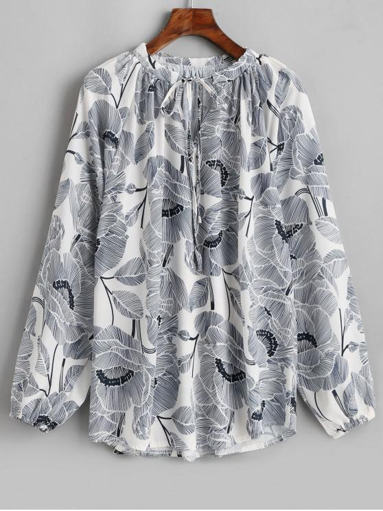 Blusa con cordón y manga de linterna estampada de flores y hojas - Multicolor-A M