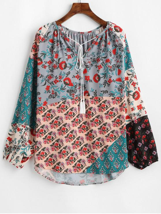 outfits Lantern Sleeve Contrast Floral Print Tasseled Notched Blouse - MULTI-A S