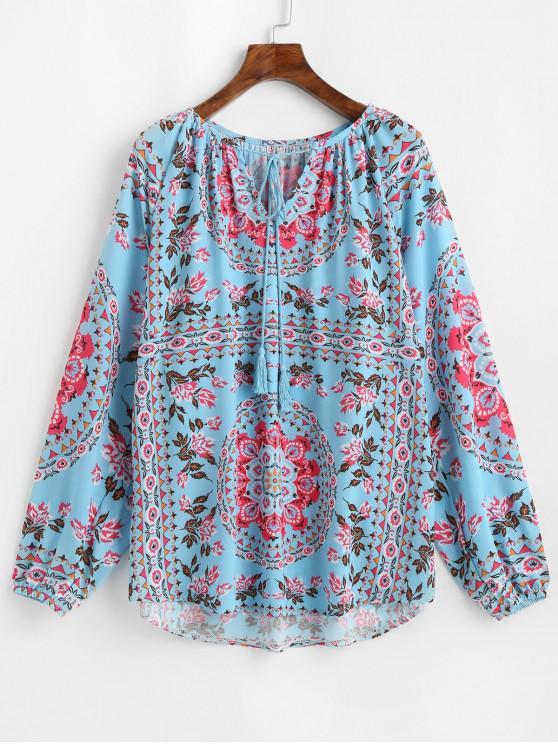 Blusa con muesca y estampado de flores con manga de linterna - Multicolor-A S