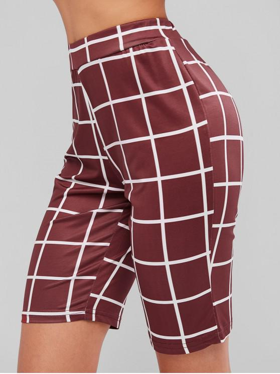women's Sports Pull On Checked Biker Shorts - RED WINE S