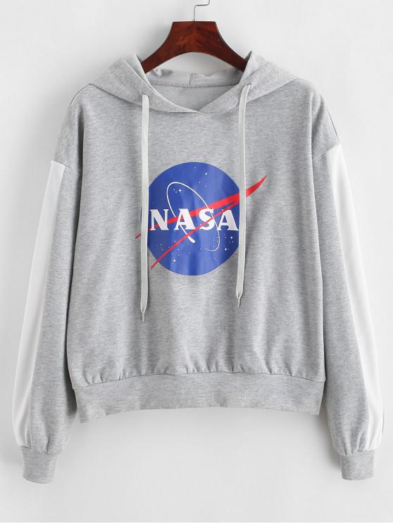 online ZAFUL Round Graphic Contrast Trim Heather Hoodie - GRAY CLOUD S
