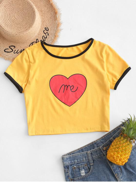 women Heart Pattern Crop Elastic Ringer Tee - YELLOW S