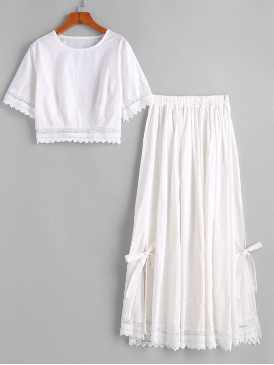 fashion Lace Trim Slit Tie Two Piece Dress - WHITE XL