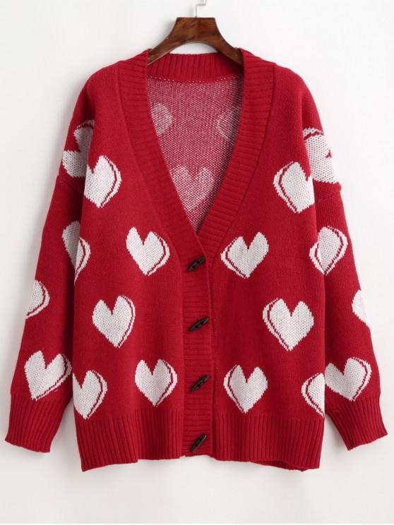 new Hearts Pattern Drop Shoulder Loose Tunic Cardigan - RED ONE SIZE