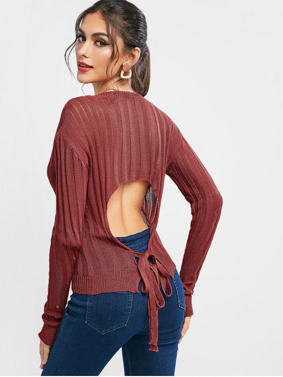 women Openwork V Neck Drop Shoulder Cutout Sweater - CHERRY RED ONE SIZE