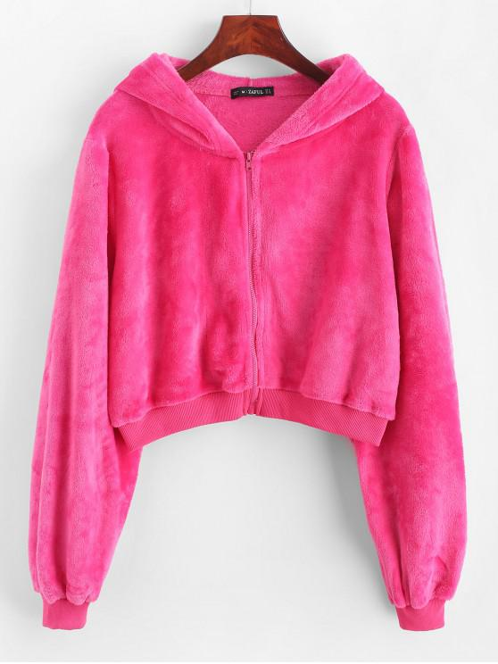chic ZAFUL Fluffy Zipper Up Ribbed Hem Hoodie - NEON PINK XL