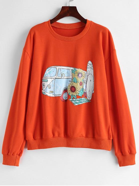 affordable ZAFUL Car Sunflower Graphic Loose Sweatshirt - PUMPKIN ORANGE S