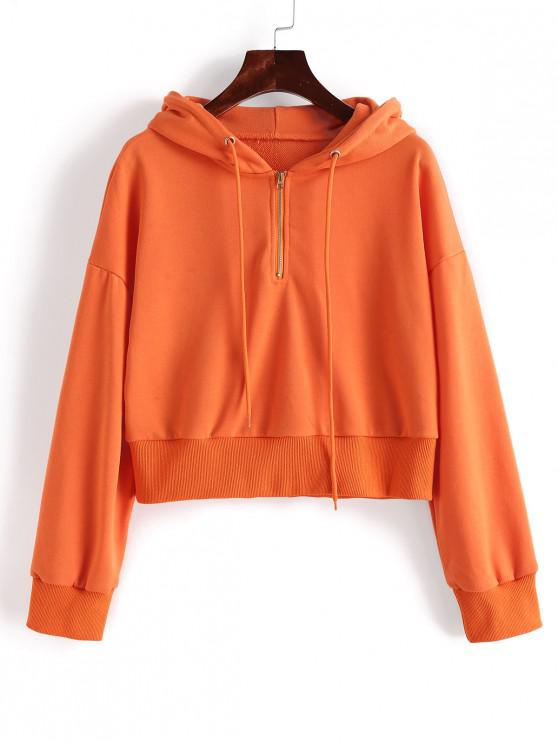 chic ZAFUL Half Zip Solid Drawstring Crop Hoodie - PUMPKIN ORANGE S